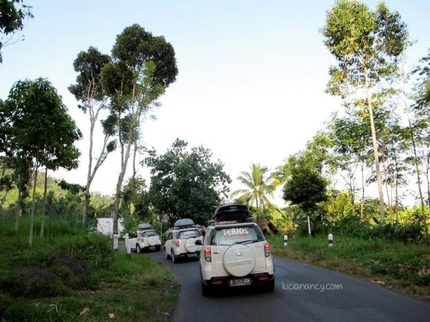 Jalan aspal berliku di daerah Lumajang.