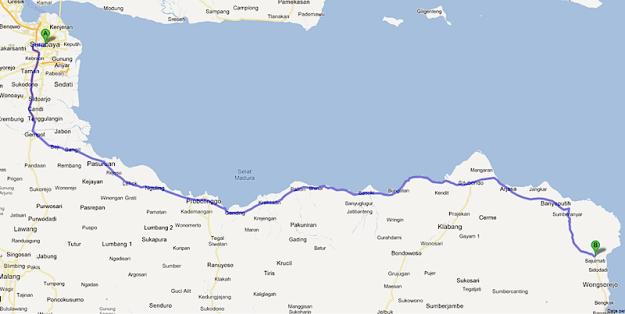 Rute ke taman Nasional Baluran jika kamu berangkat dari Surabaya lewat jalur utara.