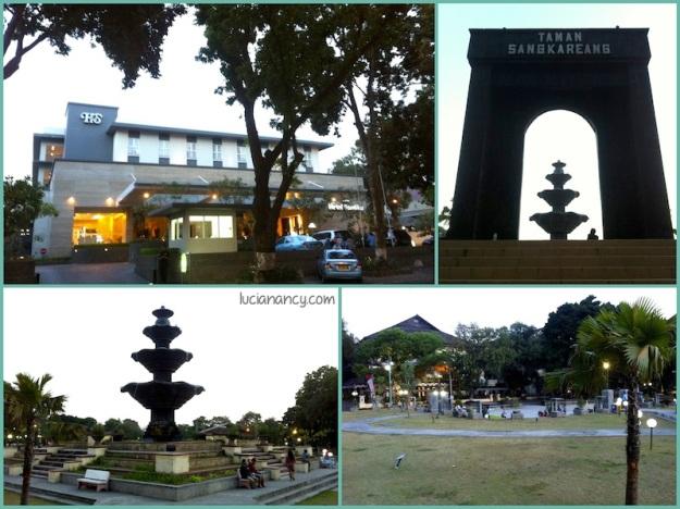 Taman Sangkareang, taman yang menjadi tempat berkumpul para warga menikmati sore hari. Letaknya tepat di depan hotel kami.