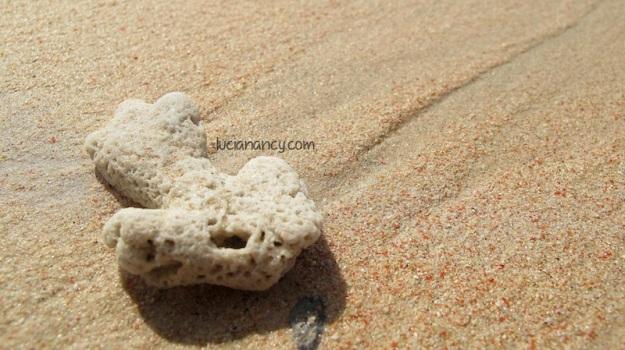 Lihat detail pasirnya deh, ada pecahan koral merah yang membuat pasirnya berwarna merah muda.